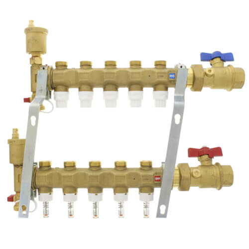 """1"""" TwistFlow Manifold w/ Temp Gauge, Inverted Pex Outlets (5 Outlets) Product Image"""