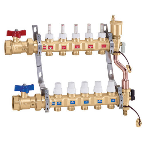 "1"" TwistFlow Manifold w/ Temp Gauge, Inverted PEX Outlets (6 Outlets) Product Image"
