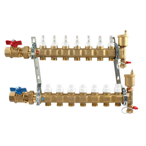 "1"" TwistFlow Manifold w/ Temp Gauge, Inverted PEX Outlets (7 Outlets) Product Image"