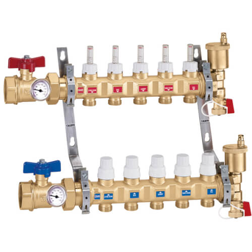 "1"" Inverted TwistFlow Manifold w/ Temp Gauge (10 Outlets) Product Image"
