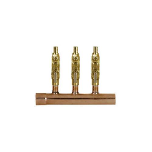 "1"" Copper Manifold w/ 1/2"" Crimp Balancing Valves 2 Outlets Product Image"