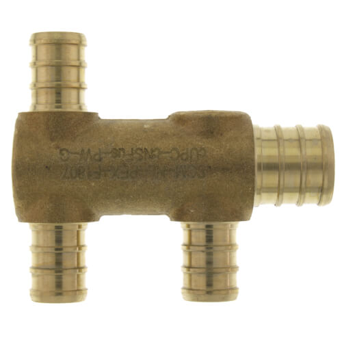 """PEX Crimp Multiport Tee (3) 1/2"""" Branches (1) 3/4"""" Trunk End Product Image"""