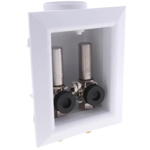 "1/2"" ASTM PEX F1807 Crimp Washing Machine Outlet Box w/ Water Hammer Arrestor Product Image"