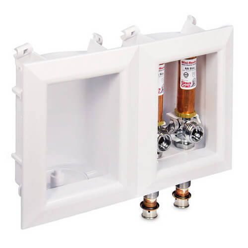 """Ox Box Washing Machine Outlet Box w/ Water Hammer Arrestor - 1/2"""" Viega PEX Press Connection (Lead Free) Product Image"""