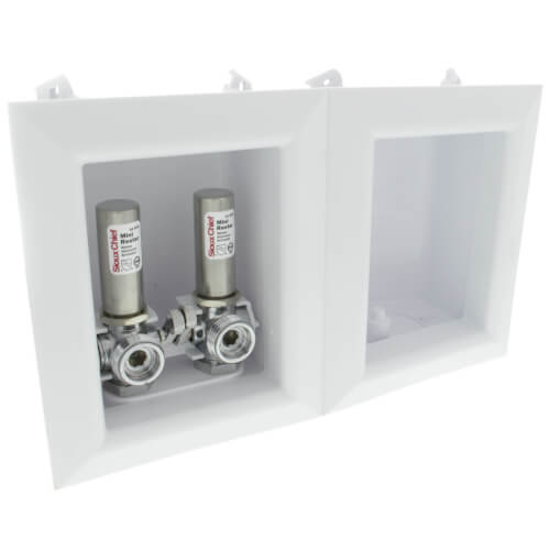 """Ox Box Washing Machine Outlet Box w/ Water Hammer Arrestor - 1/2"""" PEX Crimp Connection (Lead Free) Product Image"""
