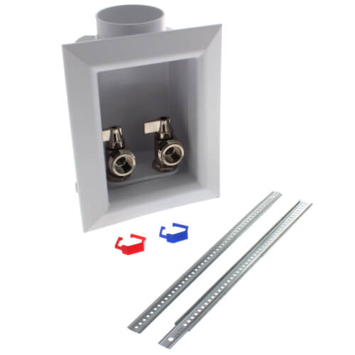 "Ox Box Washing Machine Outlet Box w/ Frame - 1/2"" PEX Crimp Connection (Lead Free) Product Image"