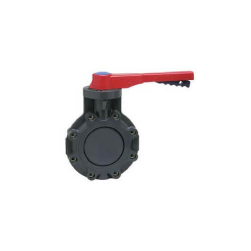 "2"" Schedule 80 PVC Lug Insert Butterfly Valve w/ Lever Handle Product Image"