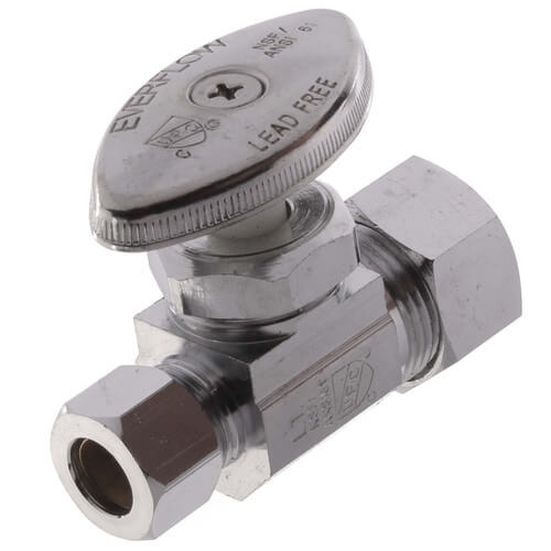 "5/8"" OD Compression x 3/8"" OD Compression Straight Stop Valve - Lead Free (Chrome) Product Image"