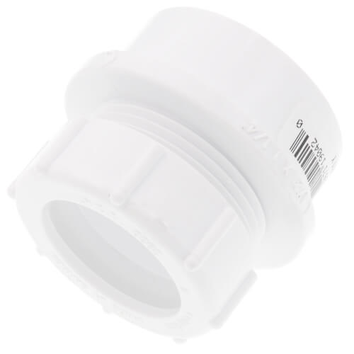 "1-1/2"" x 1-1/4"" PVC DWV Male Trap Adapter w/ Plastic Nut (Spigot x Slip) Product Image"