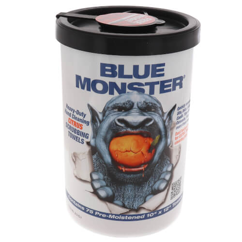"10"" x 12"" Blue Monster Citrus Scrubbing Towels w/ Nail Brush (75 pack) Product Image"