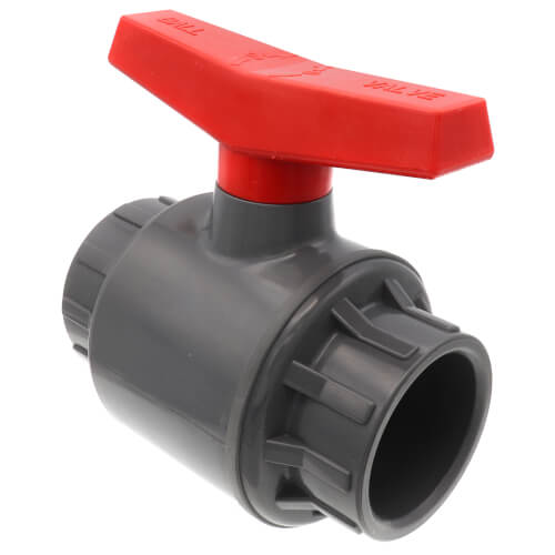 """1-1/4"""" 770G PVC Sch. 80 Ball Valve w/ Solvent Ends (Gray) Product Image"""