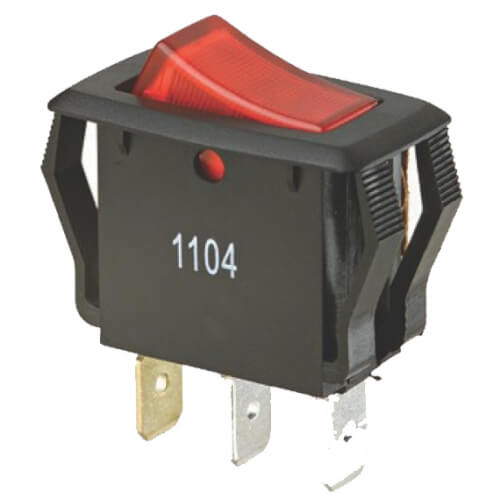 On-Off SPST Red-Lighted Appliance Rocker Switch with Spade Termination (125/250V) Product Image