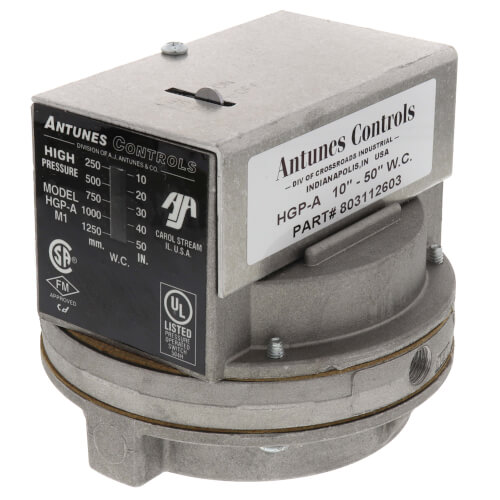 """HGP-A Manual Reset SPDT High Gas Pressure Switch, 10"""" to 50"""" W.C. Product Image"""
