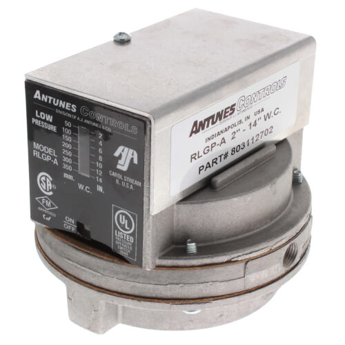 "Auto Reset SPDT Low Gas Pressure Switch, 1-6"" WC Product Image"