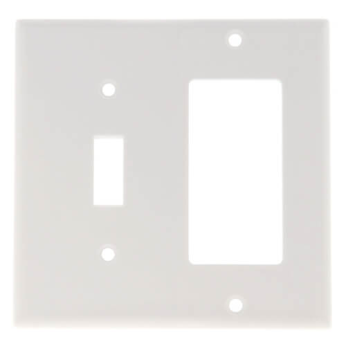 2-Gang Electrical Wall Plate Combo, 1 Decora & 1 Toggle Switch, GFCI (White) Product Image