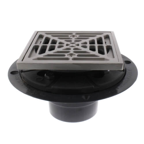 PVC Square Shower Pan Drain W/ Matte Stainless Steel Ring U0026 Strainer  Product Image