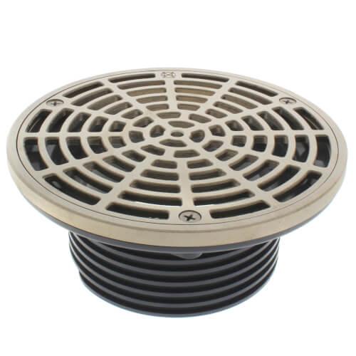 "4"" Schedule 40 Hub Connection FinishLine Adjustable Floor Drain w/ Nickel Bronze Strainer, 6.5"" Top Product Image"