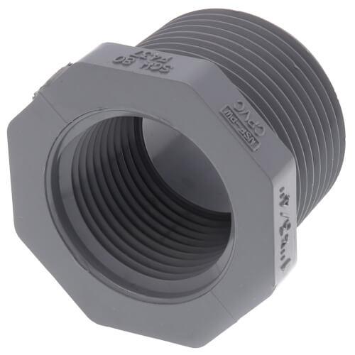 "1"" x 3/4"" CPVC Schedule 80 Flush Style Reducer Bushing (MIPT x FIPT) Product Image"
