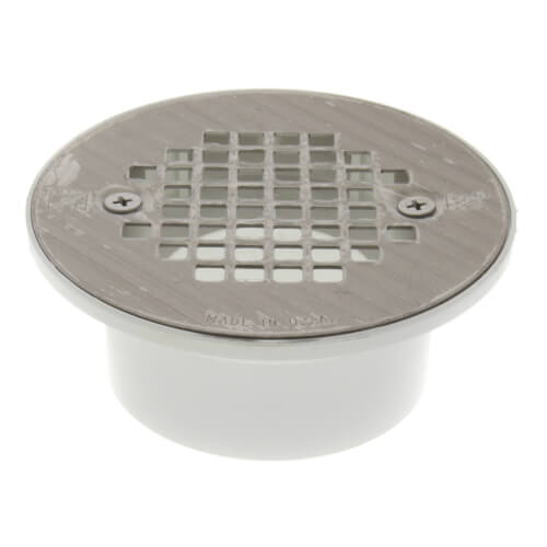 """2"""" x 3"""" PVC Solvent Weld Floor Drain w/ Screw-On Stainless Steel Strainer Product Image"""