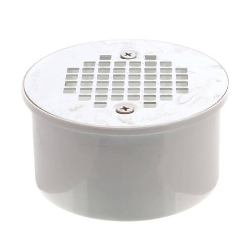 "3"" x 4"" PVC Solvent Weld Floor Drain w/ Screw-On Stainless Steel Strainer Product Image"