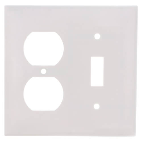 2-Gang Electrical Wall Plate, Combo, 1 Duplex & 1 Toggle Switch (White) Product Image