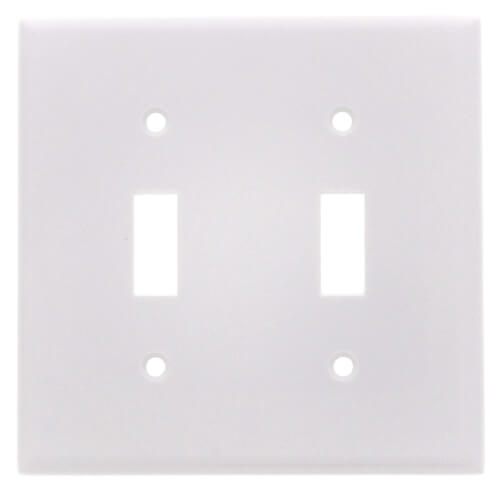 2-Gang Electrical Wall Plate, Toggle Switch (White) Product Image