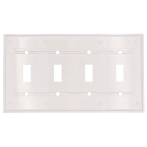 4-Gang Electrical Wall Plate, Toggle Switch (White) Product Image