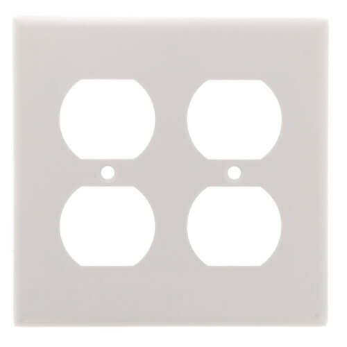 2-Gang Electrical Wall Plate, Duplex Receptacle (White) Product Image