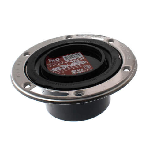 """Total Knockout Flush to Floor Closet Flange w/ Stainless Steel Swivel Ring (3"""" Hub / 4"""" Inside) Product Image"""