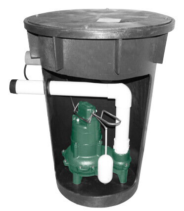 "Assembled Sewage Package System w/ Alarm, Automatic M266 - Poly Foam 18"" X 30"" Basin w/ Lid (Side Discharge) Product Image"