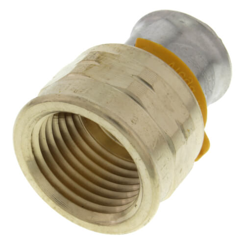 """1/2"""" PEX Press x 1/2"""" Female Adapter w/ Attached Sleeve (Zero Lead Bronze) Product Image"""