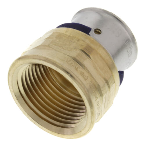 """3/4"""" PEX Press x 3/4"""" Female Adapter w/ Attached Sleeve (Zero Lead Bronze) Product Image"""