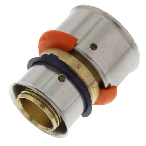 """3/4"""" x 1"""" PEX Press Coupling w/ Attached Sleeve (Zero Lead Bronze) Product Image"""