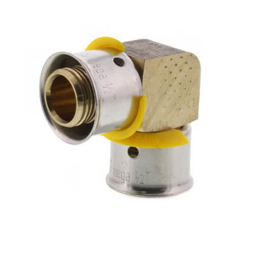"1/2"" PEX Press 90° Elbow w/ Attached Sleeve (Zero Lead Bronze) Product Image"