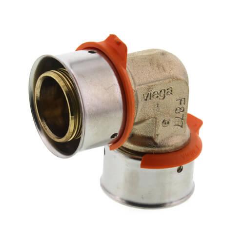"1"" PEX Press 90° Elbow w/ Attached Sleeve (Zero Lead Bronze) Product Image"