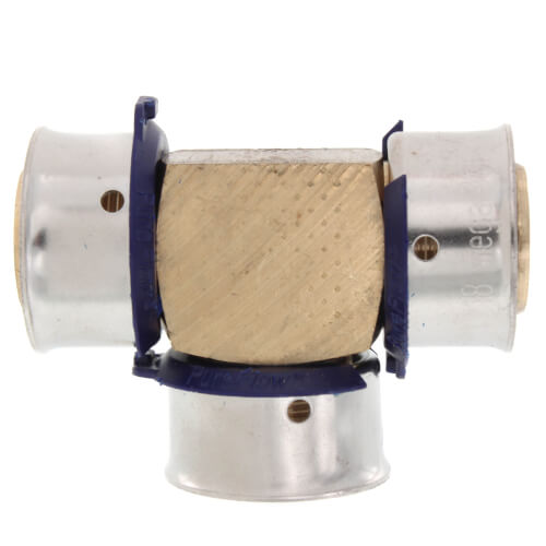 "3/4"" PEX Press Tee w/ Attached Sleeve (Zero Lead Bronze) Product Image"
