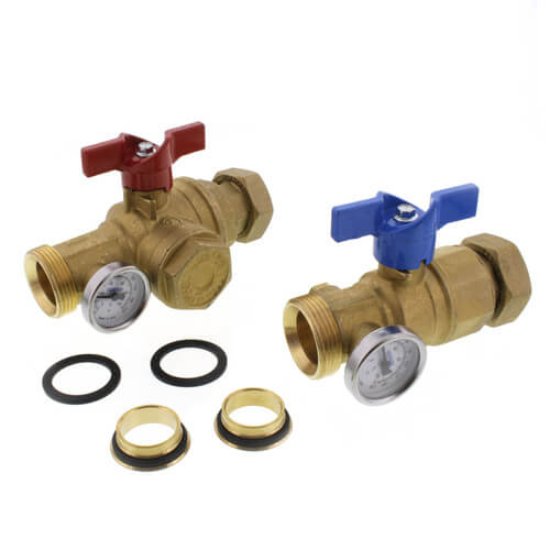 TruFLOW Manifold Supply and Return Ball Valves, Set of 2 (w/ Filter & Temp. Gauge) Product Image