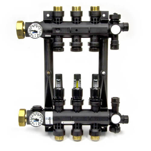 3-Loop EP Radiant Heat Manifold Assembly w/ Flow Meters Product Image