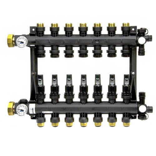 7-Loop EP Radiant Heat Manifold Assembly w/ Flow Meters Product Image