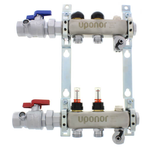"2-Loop 1"" Stainless Steel Radiant Heat Manifold Assembly w/ Flow Meter Product Image"