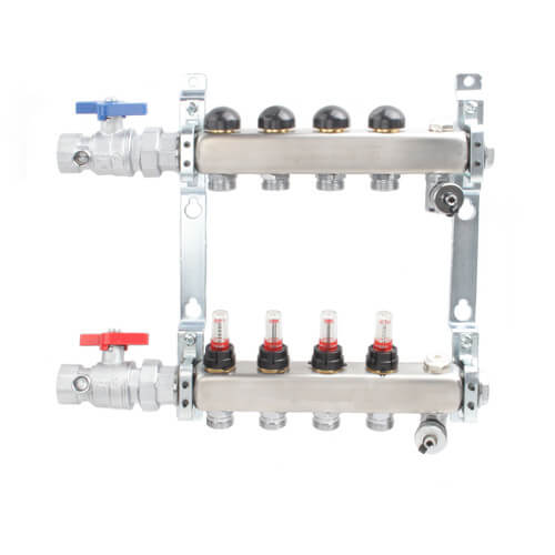 """4-Loop 1"""" Stainless Steel Radiant Heat Manifold Assembly w/ Flow Meter Product Image"""