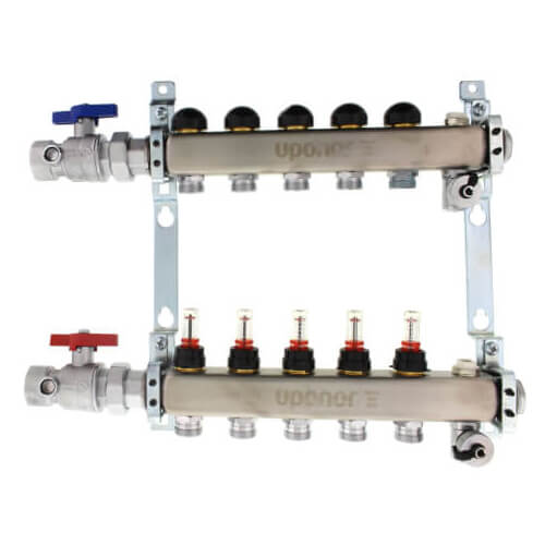 """5-Loop 1"""" Stainless Steel Radiant Heat Manifold Assembly w/ Flow Meter Product Image"""
