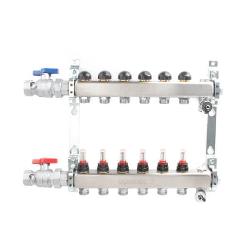 "6-Loop 1"" Stainless Steel Radiant Heat Manifold Assembly w/ Flow Meter Product Image"