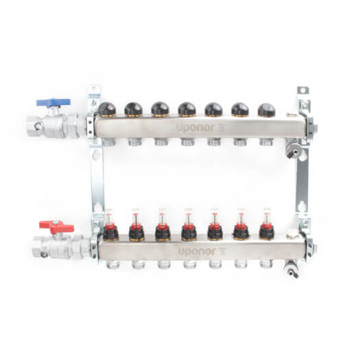 """7-Loop 1"""" Stainless Steel Radiant Heat Manifold Assembly w/ Flow Meter Product Image"""
