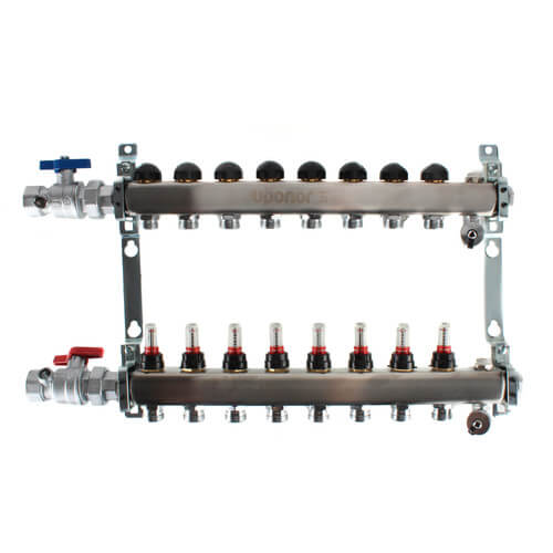"8-Loop 1"" Stainless Steel Radiant Heat Manifold Assembly w/ Flow Meter Product Image"