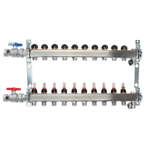 """10-Loop 1"""" Stainless Steel Radiant Heat Manifold Assembly w/ Flow Meter Product Image"""