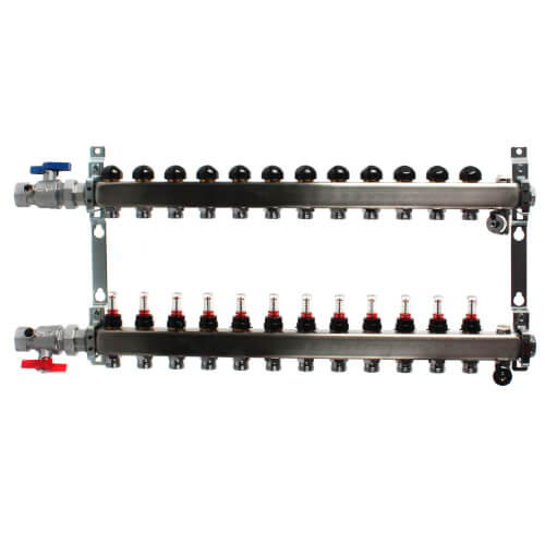 """12-Loop 1"""" Stainless Steel Radiant Heat Manifold Assembly w/ Flow Meter Product Image"""