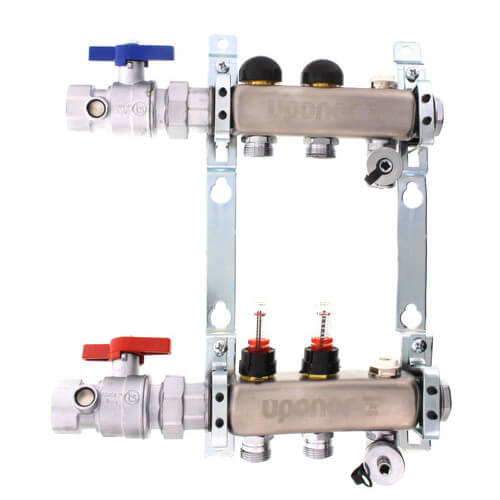 "2-Loop 1-1/4"" Stainless Steel Radiant Heat Manifold Assembly w/ Flow Meter Product Image"