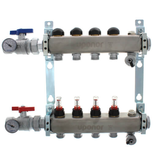 "4-Loop 1-1/4"" Stainless Steel Radiant Heat Manifold Assembly w/ Flow Meter Product Image"