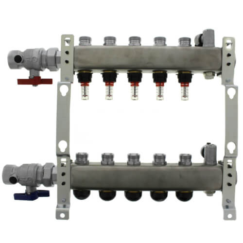 "5-Loop 1-1/4"" Stainless Steel Radiant Heat Manifold Assembly w/ Flow Meter Product Image"